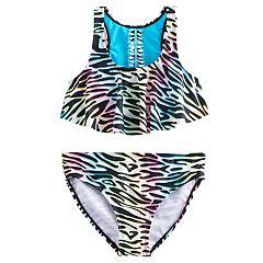 Girls 7-16 SO® Rainbow Zebra Print Bikini Top & Bottoms Swimsuit Set