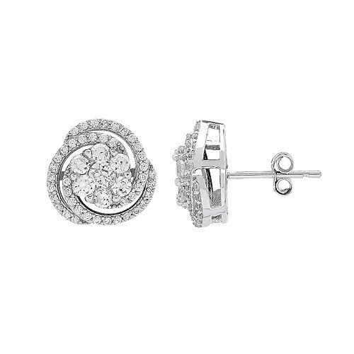 Sterling Silver Cubic Zirconia Swirl Earrings