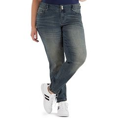 Juniors' Plus Size Amethyst Embroidered Pocket Skinny Jeans