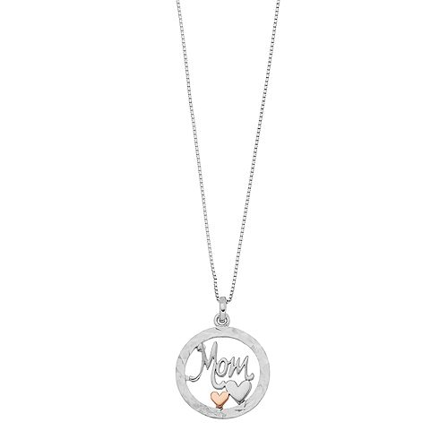 """Timeless Sterling Silver """"Mom"""" Circle Pendant Necklace"""