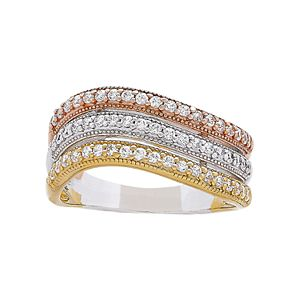 Tri-Tone 18k Gold Over Silver Cubic Zirconia 3-Row Ring