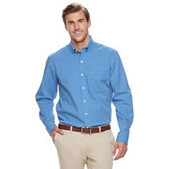Big & Tall IZOD Regular-Fit Gingham-Checked Stretch Button-Down Shirt