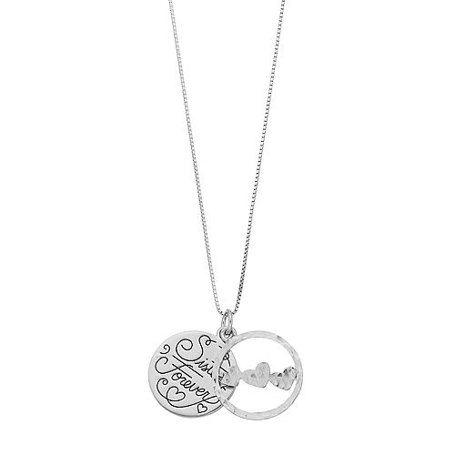 """Timeless Sterling Silver """"Sisters Forever"""" Pendant Necklace"""
