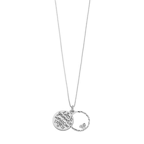 """Timeless Sterling Silver """"I Love You More Than Words Can Express"""" Pendant Necklace"""