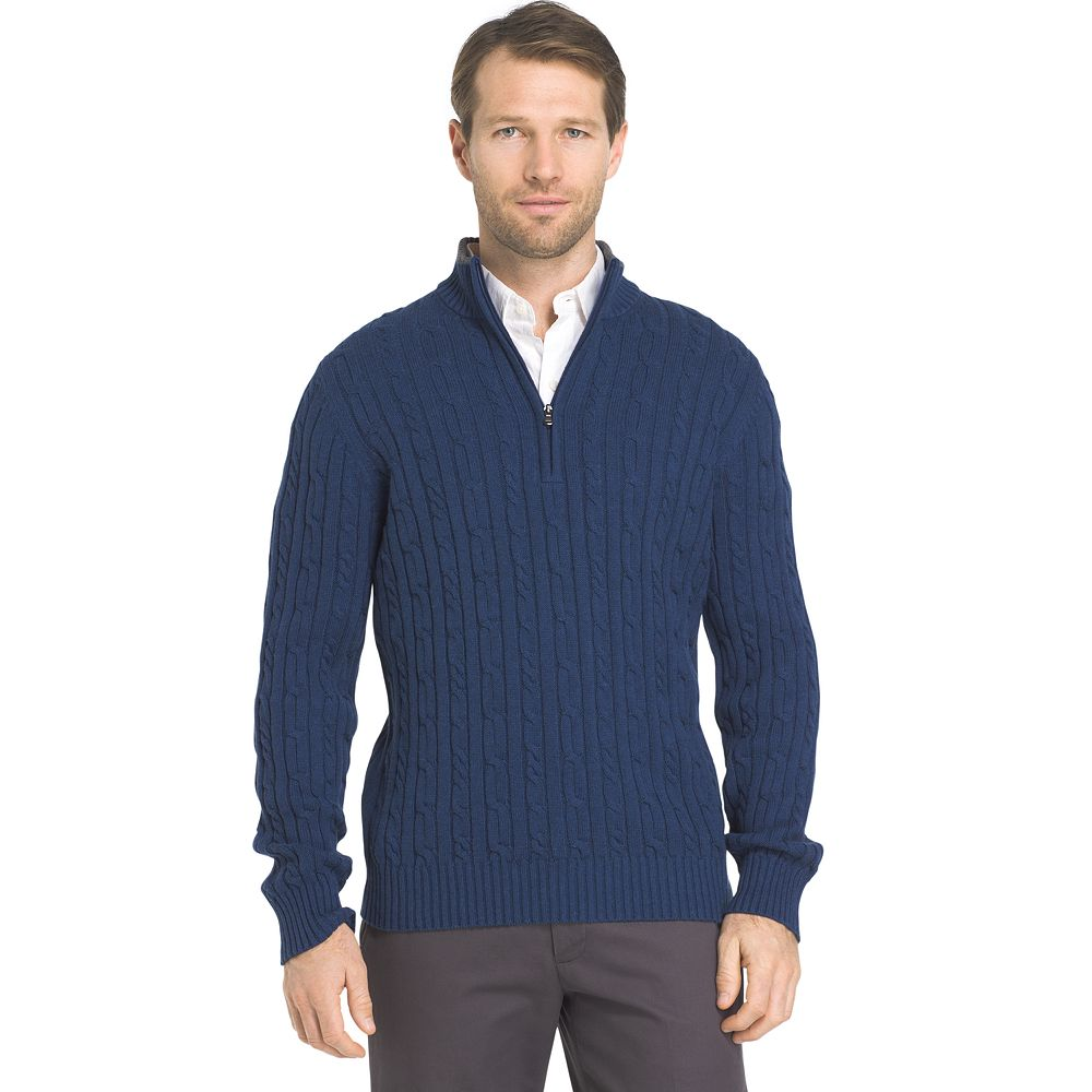 & Tall IZOD Cable-Knit Quarter-Zip Sweater