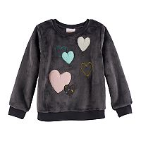 Toddler Girl Jumping Beans® Animal Applique Plush Pullover