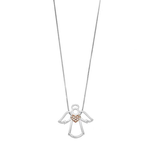 Timeless Sterling Silver Cubic Zirconia Angel Pendant