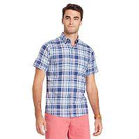 Big & Tall IZOD Regular-Fit Plaid Chambray Button-Down Shirt