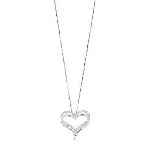 Timeless Sterling Silver Cubic Zirconia Heart Pendant Necklace