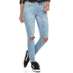 Juniors' Indigo Rein Ripped Knee Ankle Skinny Jeans