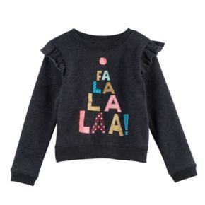 """Toddler Girl Jumping Beans® """"Fa La La La"""" Graphic Fleece Pullover"""