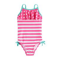 Girls 4-6x SO® Polka-Dot Ruffle Top & Striped Pattern One-Piece Swimsuit