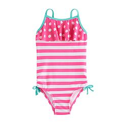Girls 4-6x SO® Polka-Dot Ruffle Top & Striped Pattern One-Piece Swimsuit
