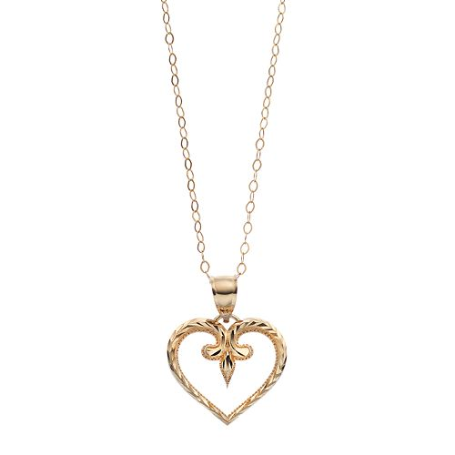 10k Gold Textured Heart Pendant Necklace