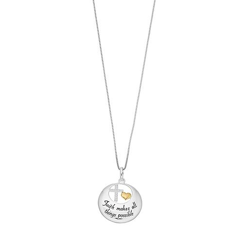 """Timeless Sterling Silver """"Faith Makes All Things Possible"""" Pendant Necklace"""