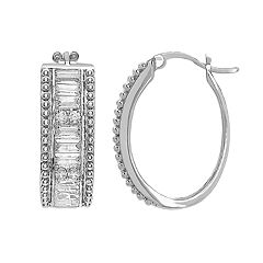Sterling Silver Cubic Zirconia J-Hoop Earrings