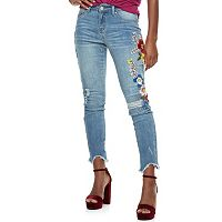 Juniors' Indigo Rein Flower Embroidery Fray Hem Skinny Jeans