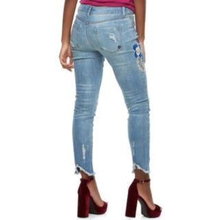 Juniors' Indigo Rein Flower Embroidery Fray Hem Skinny Jeans