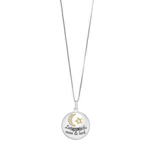 """Timeless Sterling Silver """"Love You to the Moon & Back"""" Pendant Necklace"""