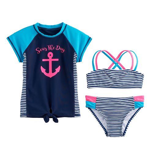 "Girls 4-6x SO® ""Seas the Day"" Rashguard, Striped Bikini Top & Bottoms Swimsuit Set"