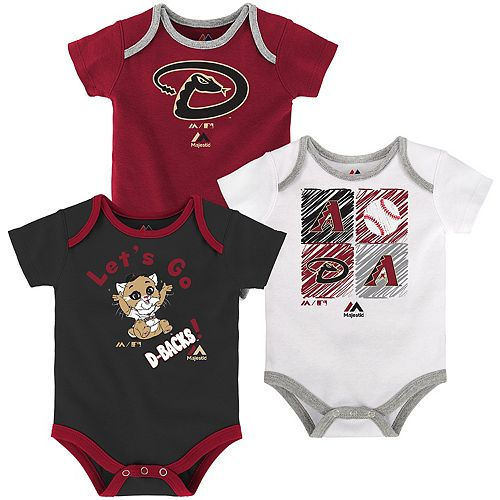 Baby Majestic Arizona Diamondbacks Go Team 3-Pack Bodysuit Set