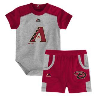 Baby Majestic Arizona Diamondbacks Double Header Bodysuit & Shorts Set