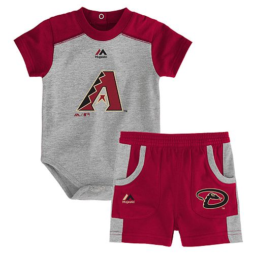 Baby Majestic Arizona Diamondbacks Double Header Bodysuit & Shorts Set