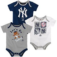 Baby Majestic New York Yankees Go Team 3-Pack Bodysuit Set