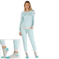 Women's Cuddl Duds Pajamas: Under The Moonlight Top, Pants & Socks 3 pc PJ Set