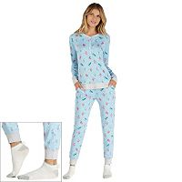 Women's Cuddl Duds Pajamas: Under The Moonlight Top, Pants & Socks 3-Piece PJ Set