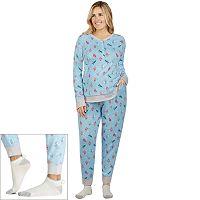 Plus Size Cuddl Duds Pajamas: Under The Moonlight Top, Pants & Socks 3-Piece PJ Set