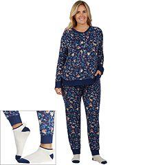 Plus Size Cuddl Duds Pajamas: Under The Moonlight Top, Pants & Socks 3 pc PJ Set