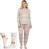 Plus Size Cuddl Duds Pajamas: Under The Moonlight Top, Pants & Socks 3-Piece PJ Set