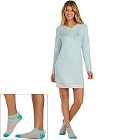 Women's Cuddl Duds Pajamas: Under The Moonlight Sleep Shirt & Socks 2-Piece PJ Set