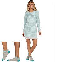 Women's Cuddl Duds Pajamas: Under The Moonlight Sleep Shirt & Socks 2 pc PJ Set
