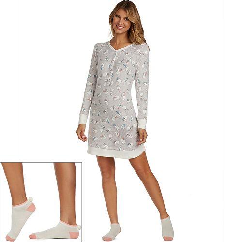 Women's Cuddl Duds Pajamas: Under The Moonlight Sleep Shirt & Socks 2-Piece PJ Set