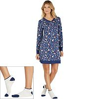 Women's Cuddl Duds Pajamas: Under The Moonlight Sleep Shirt & Socks 2 pc PJ Set