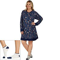 Plus Size Cuddl Duds Pajamas: Under The Moonlight Sleep Shirt & Socks 2-Piece PJ Set