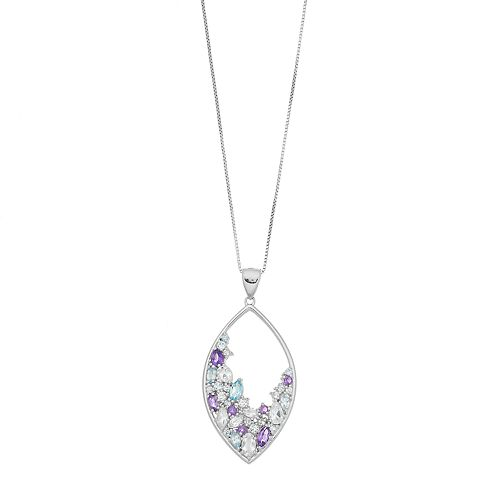 Sterling Silver Gemstone Marquise Pendant Necklace