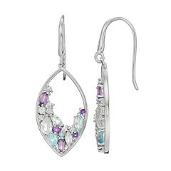 Sterling Silver Marquise Gemstone Drop Earrings