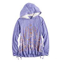 Girls 7-16 Mudd Side-Seam Lace-Up Sherpa Hoodie