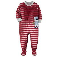 Baby Boy Carters Applique Striped One-Piece Footed Pajamas (Multi Colors)