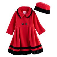 Toddler Girl Sophie Rose Microfleece Coat & Hat Set