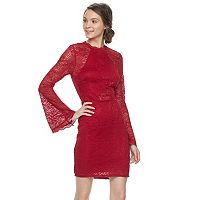 Juniors' Almost Famous Lace Bell Sleeve Mockneck Dress