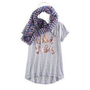 Girls 7-16 & Plus Size Self Esteem Ruffle Tee & Infinity Scarf Set with Necklace