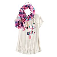 Girls 7-16 & Plus Size Self Esteem Ruffle Tee & Infinity Scarf Set with Necklace