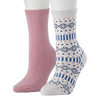 Women's SONOMA Goods for Life™ 2-pk. Solid & Fairisle Crew Socks