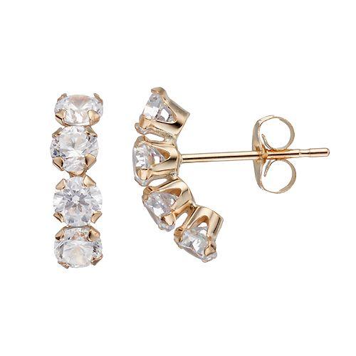 Taylor Grace 10k Gold Cubic Zirconia Curved Drop Earrings