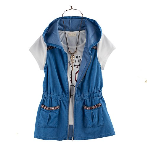 Girls 7-16 & Plus Size Self Esteem Hooded Vest & Graphic Tee Set with Necklace