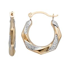 Taylor Grace Two Tone 10k Gold Textured Hoop Earrings